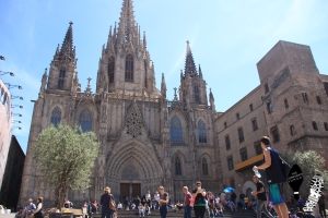 The Cathedral of the Holy Cross and Saint Eulalia, also known as Barcelona Cathedral
