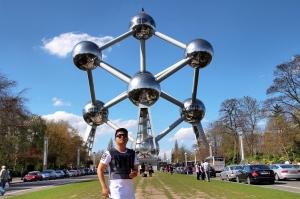 The Atomium, symbol of Brussels .