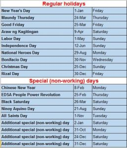 Philippine Holiday 2016